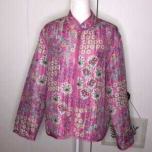 Koret 100 % silk bohemian pink quilted jacket